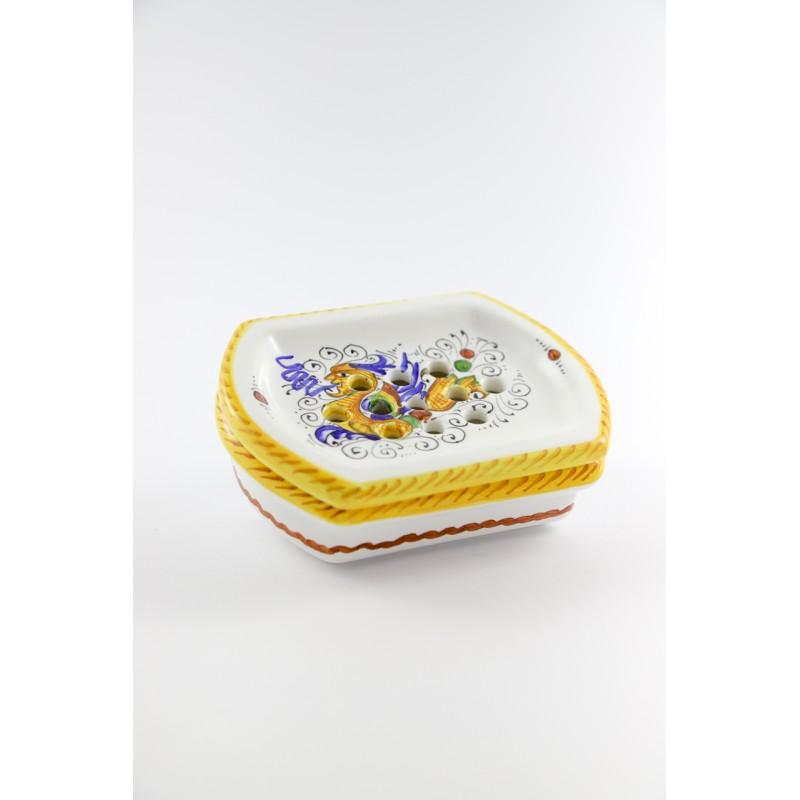 Portasapone Bagno In Ceramica.Porta Sapone Doppio Con Sgocciolatoio In Ceramica Fatto A Mano Deruta
